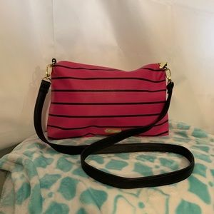 Betsey Johnson hot pink and black faux leather bag